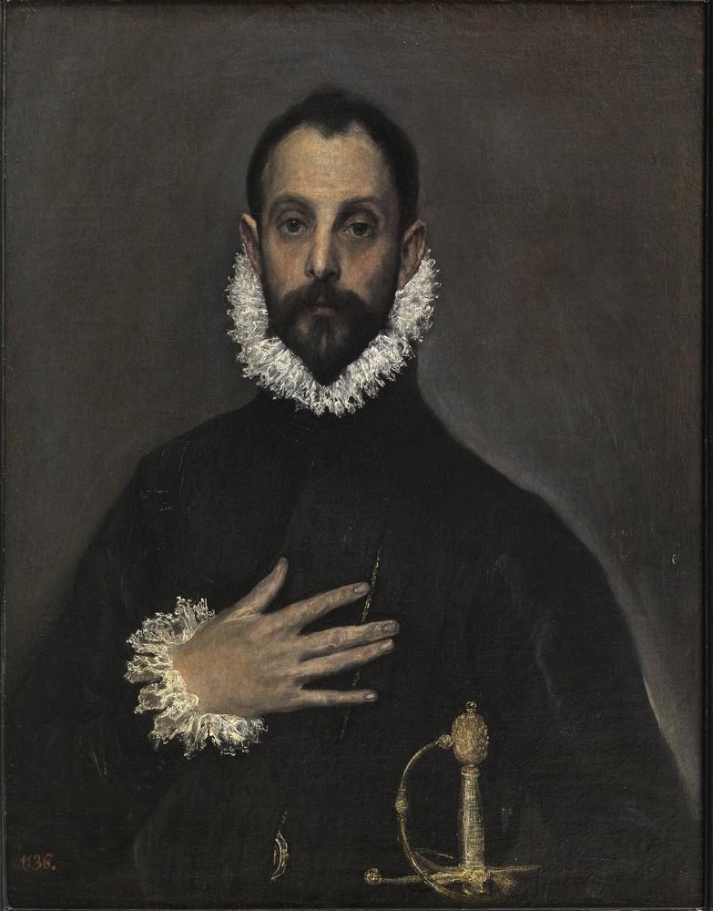 """Эль Греко, """"Рыцарь с рукой на груди"""" (1580)"""