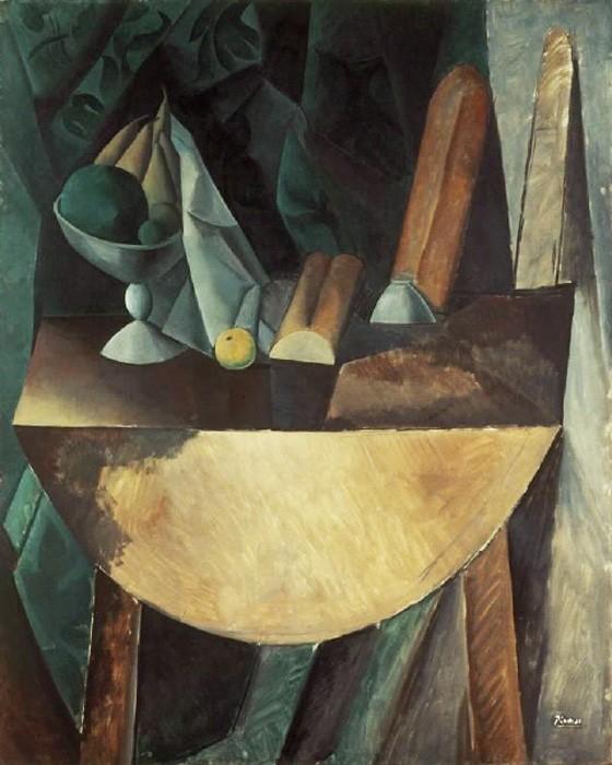 Пикассо, Хлеб и блюдо с фруктами на столе
